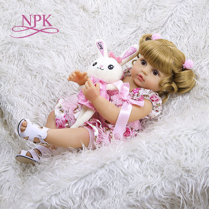 NPK 55CM bebe doll reborn toddler girl doll full body silicone soft real touch flexible anatomically correct image