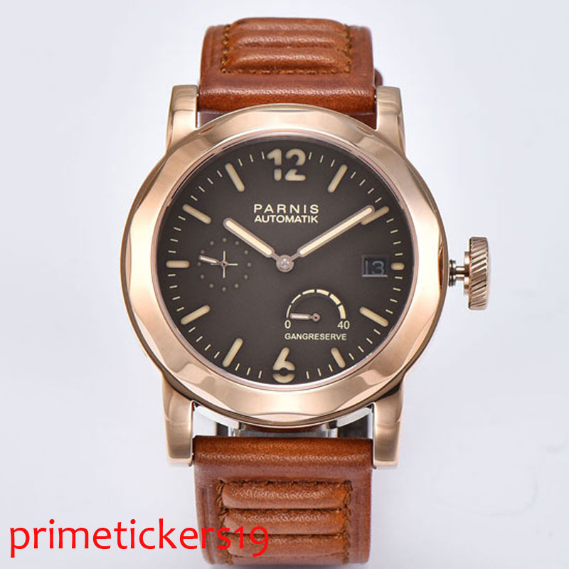 Golden plated case 44mm Parnis coffee dial leather strap sapphire glass <font><b>ST2530</b></font> automatic men's watch image