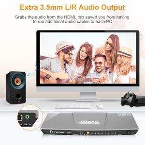 Image 4 - HDMI KVM Switch4x1 3840x2160 @ 60 Гц 4:4:4 с 2 квм кабелями 5 футов Поддержка USB 2,0 управление устройствами