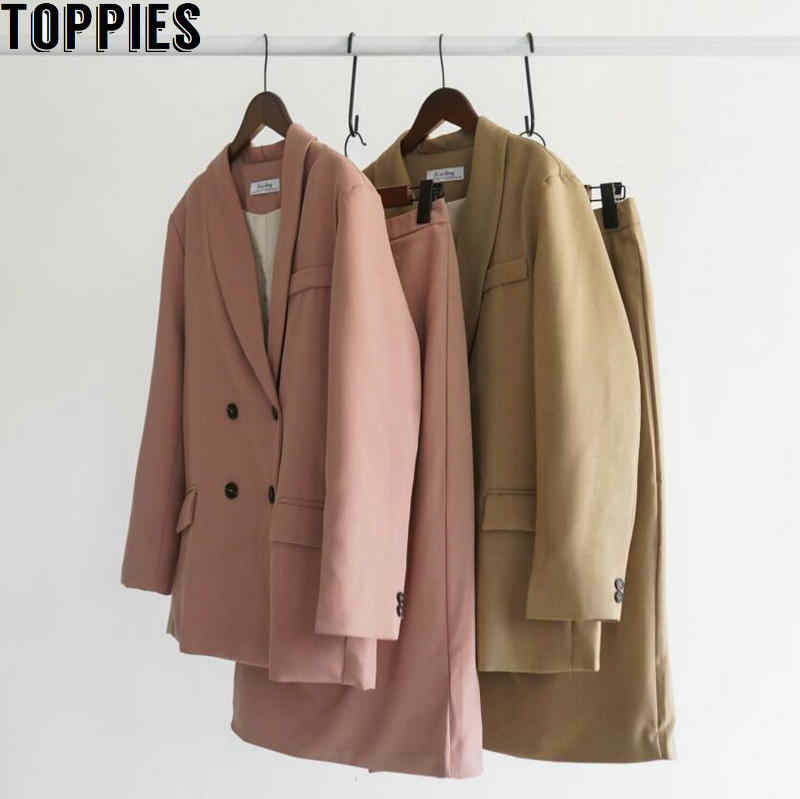 Toppies 2020 Frühling Frauen Blazer Anzüge Doule Breasted Rosa Blazer Hohe Taille Rock Büro Dame Sets