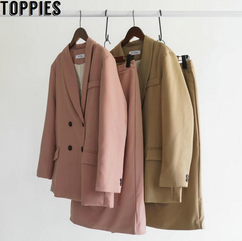 Toppies 2020 Spring Women Blazer Suits Doule Breasted Pink Blazer High Waist Skirt Office Lady Sets