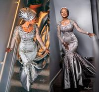 Silver Luxury Mermaid Wedding Dresses 2020 Modern African Nigerian Aso Ebi Lace Applique Long Sleeve Bride Temple Wedding gown