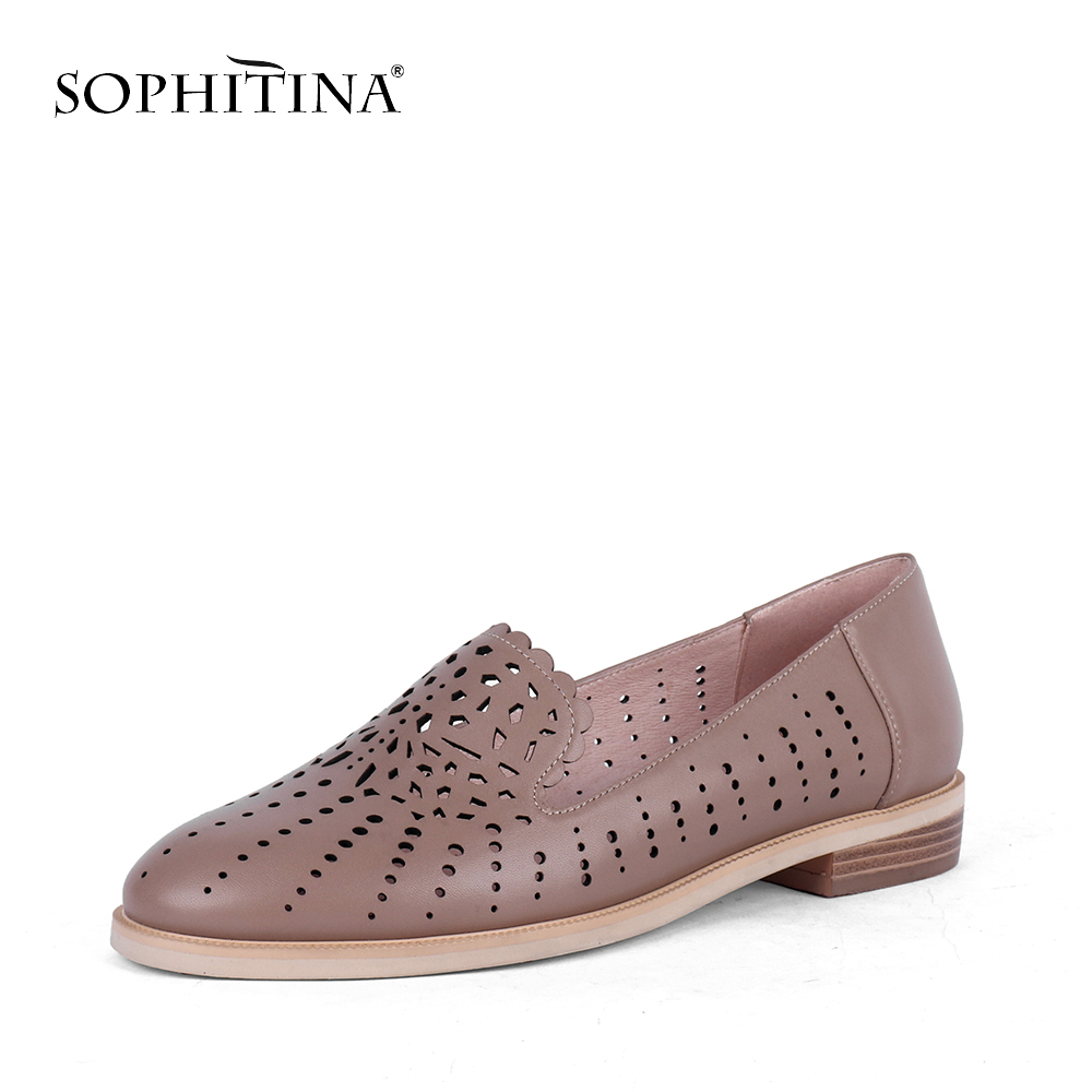 SOPHITINA New Women Pumps Round Toe Square Heel Low Hollow Fashionable Shallow Shoes High Quality Sheepskin Casual Concise PC634