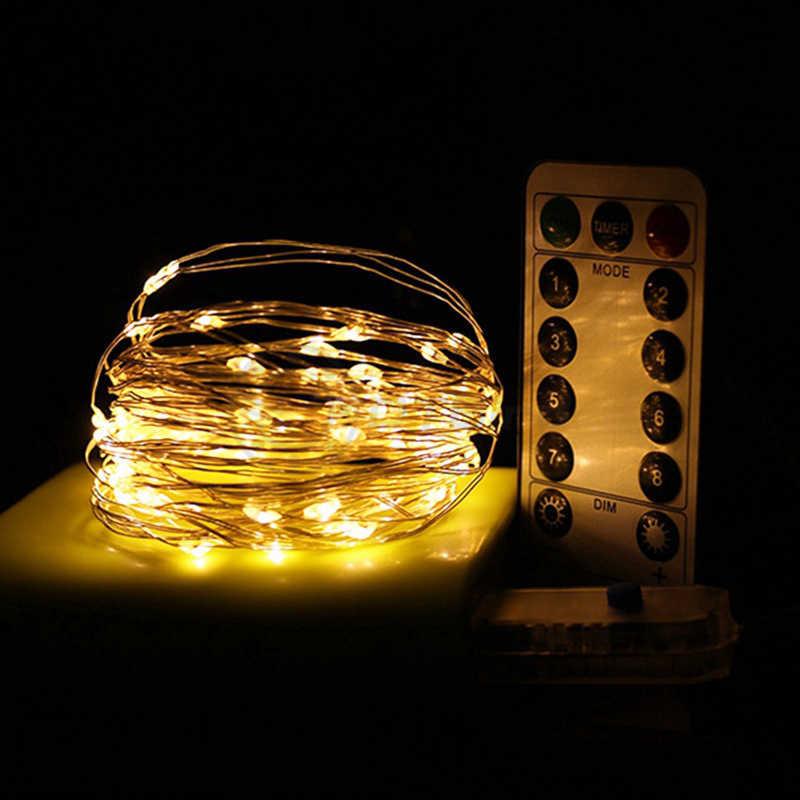 USB a distanza di controllo 8 funzione di filo di rame lampada camera da letto di nozze decorazione 10m 100 luce della stringa di Natale filo d'argento lampada