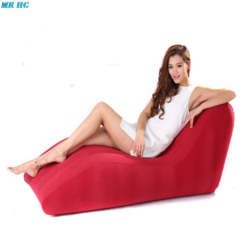 S-Shape Inflatable Sofa Sex Chair Furniture For Couples Adult Games Cushion Position Flocking PVC Sex Love  Recliner Lounge