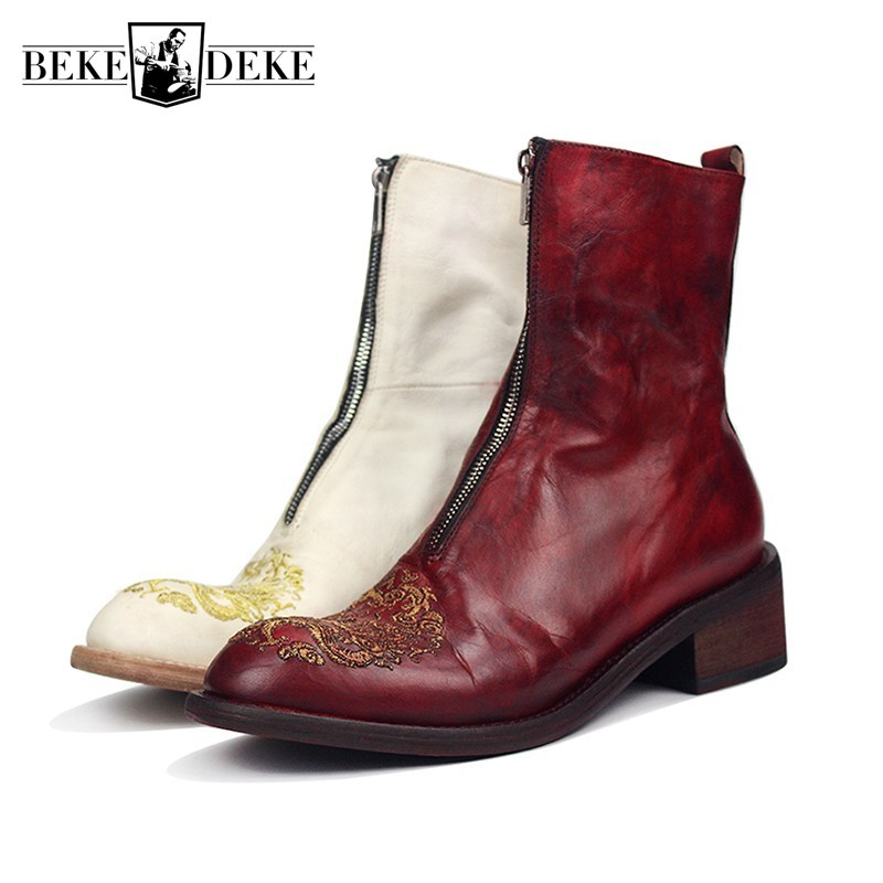 Luxury Runway Mens Cowhide GENUINE Leather Boots Block High Heels Riding Boots Handmade New Dragon Embroidery Shoes Knight Boots