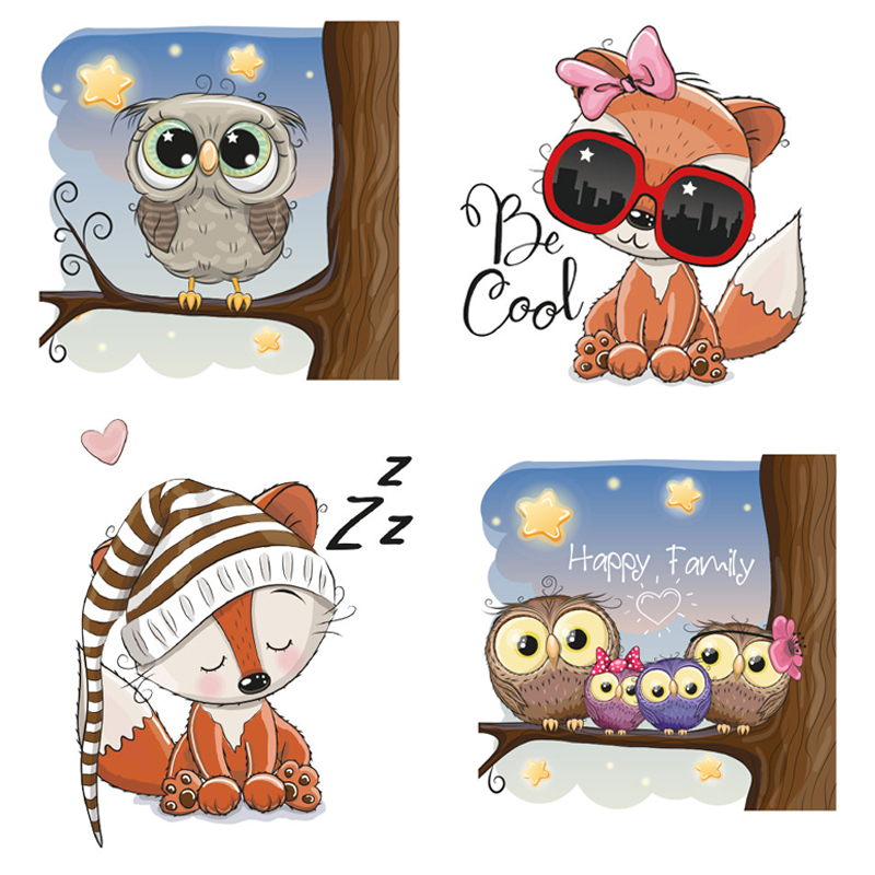 Owl Squirrel Patch Iron On Animal Patches For Clothing Stickers On Clothes For Kids T-shirt DIY Heat Transfers Vinyl Appliques G