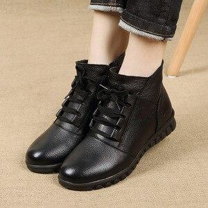 Image 5 - Gktinoo botas de couro legítimo femininas, botas de inverno, cano curto, com zíper, retrô, 2020 sapatos com calçados