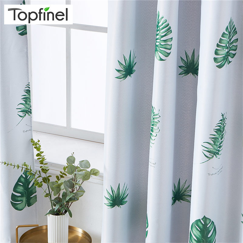 Topfinel Tropical Leaves Blackout Curtains For Living Room Bedroom Kitchen Kid Room Printed Polyester Window Treatment Drapes De|Curtains|Home & Garden - title=