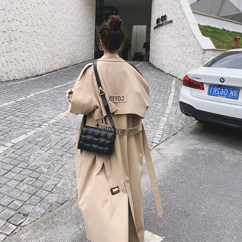 Women's Khaki Long Windbreaker Spring Autumn Trench Coat Female Cotton Embroidered Have Lining Loose Wear A Belt Ladies Cloak