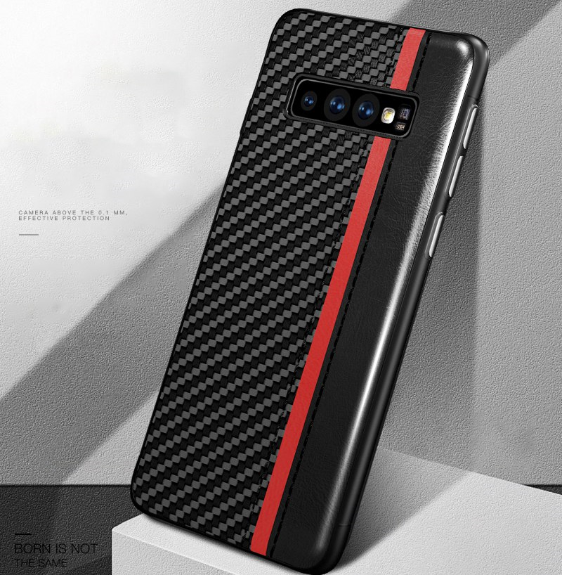Soft Frame Back Cover Case For Samsung Galaxy S10e Case Carbon Fiber Leather Capa for Samsung Galaxy S10 Plus Ultra Thin Case image