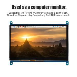 """Image 3 - Pojemnościowy ekran dotykowy LCD ekran dotykowy dla Raspberry Pi 4B/3B/3B + 7 """"1024*600 HDMI pojemnościowy ekran dotykowy napęd USB za darmo dla BB czarny"""