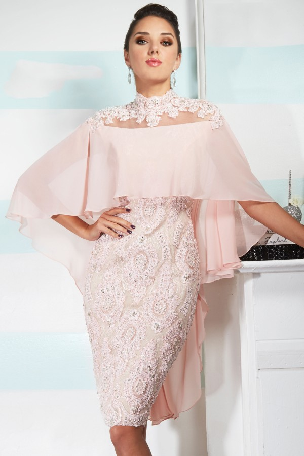 Pink 2019 Mother Of The Bride Dresses Sheath High Collar Knee Length Chiffon Lace Beaded Groom Short Mother Dresses For Wedding