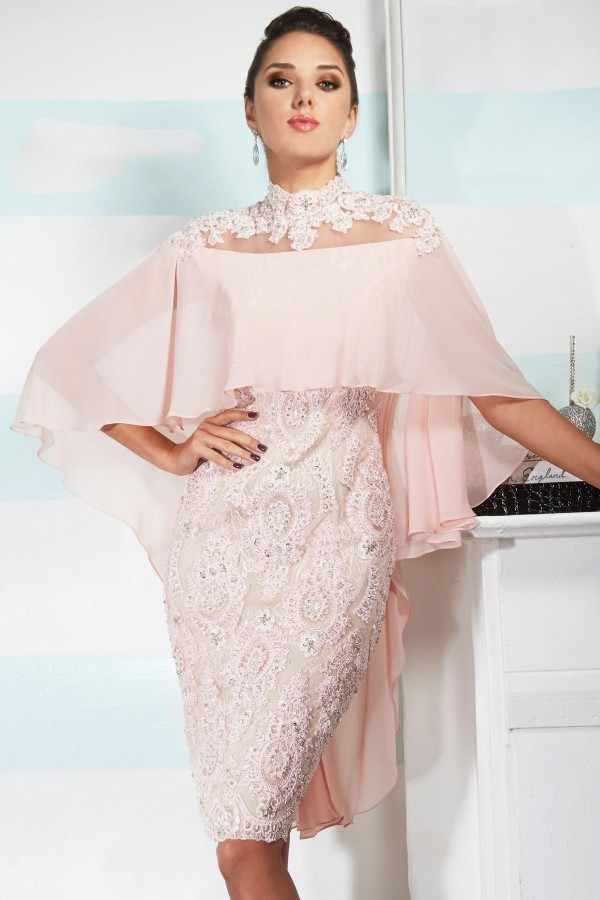 Rosa 2019 vestidos de Madre de la novia vaina de cuello alto hasta la rodilla de gasa de encaje con cuentas novio corto vestidos de madre para boda