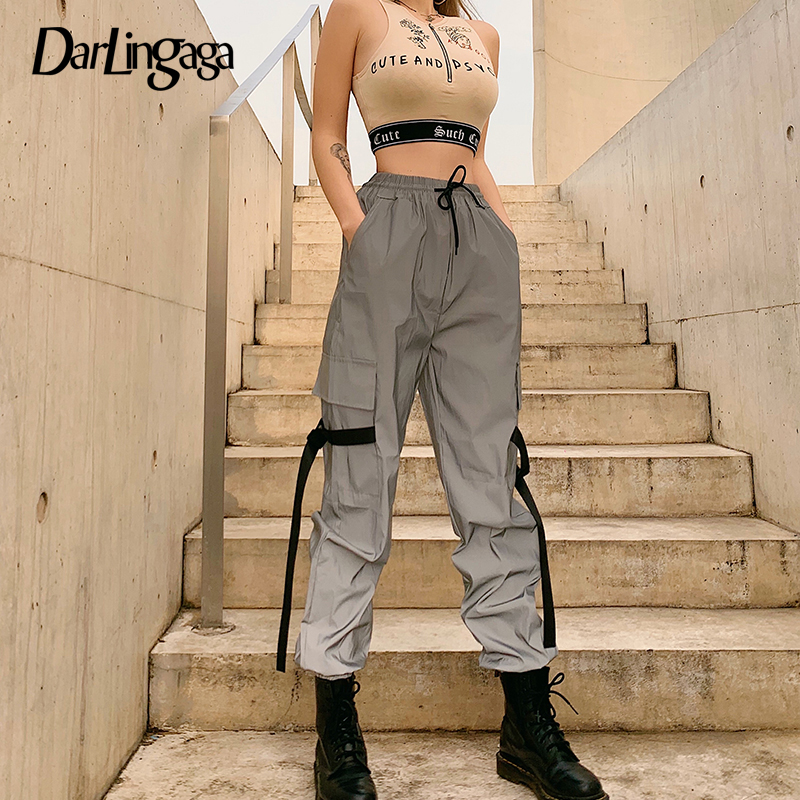 Darlingaga Streetwear Buckle Reflective Pants Pockets Holographic Trousers Hip Hop Cargo Pants Women Joggers Pantalon Femme 2020