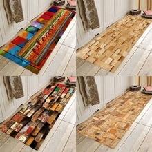 Wood block, wood type flannel printing home Anti-Slip absorbent floor pad Floor mat vintage wood grain color block flannel rug