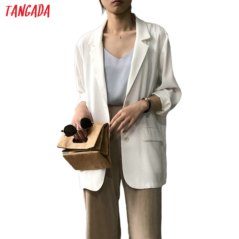 Tangada Women Spring Thin White Blazer Female Elegant Jacket Female Casual Suits High Quality ASF39