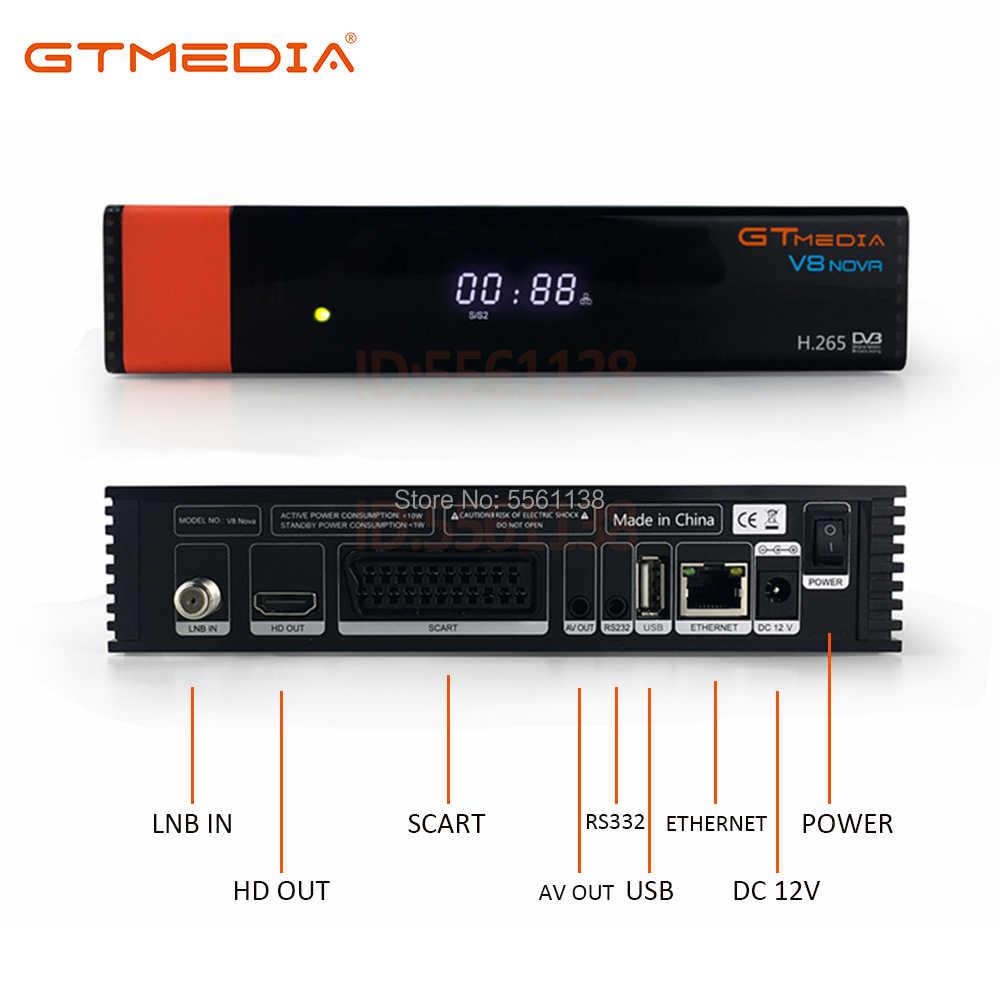 1080P DVB-S2 Gtmedia V8 Nova Freesat Vệ FTA Bộ Giải Mã GT Truyền Thông V8 Nova Màu Xanh Với 2 Năm Cccam cline V8 Nova
