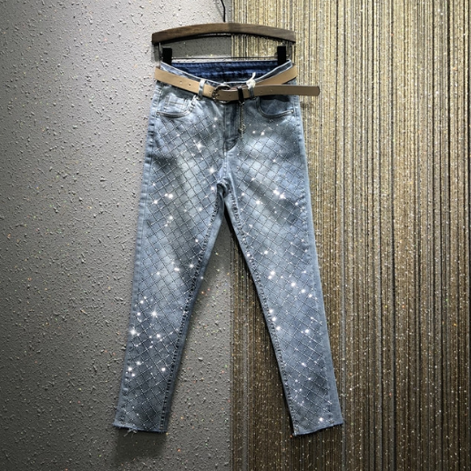 2020 Spring New High Waist Blue Jeans Woman Hot Drilling Stretch Pants Pencil Denim Pants Women's Jeans Jeansy Damskie