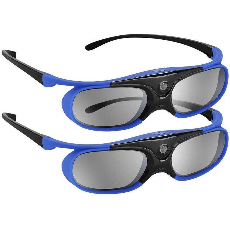 2Pcs Active Shutter Eyewear DLP-Link 3D Glasses USB Rechargeable for DLP LINK Projectors Compatible with BenQ W1070 W700 Project