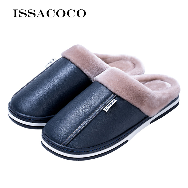 ISSACOCO Men Slippers Man Plush Warm Indoor Slippers Home Slippers Fluffy Waterproof Flat Slippers Leather Slippers Man Shoes