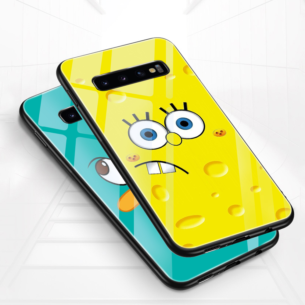 SpongeBob cartoon Anime Tempered <font><b>Glass</b></font> Phone <font><b>Cases</b></font> For <font><b>Samsung</b></font> Galaxy A50 <font><b>70</b></font> 40 30 20 S10 9 8 7 Plus edge S10e shockproof Cover image