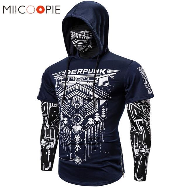 Mens Skull Mask Hoodies Sweatshirt Fake Two Pieces Men Punk Jogging Homme Pullover Elastic Streetwear Hoodie Japan Ninja Suit 1