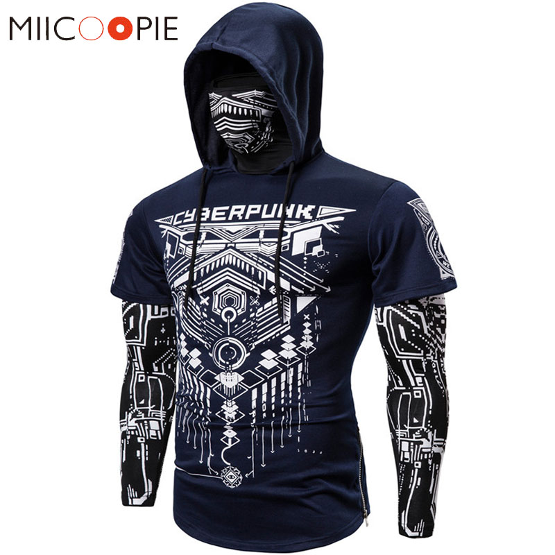 Mens Skull Mask Hoodies Sweatshirt Fake Two Pieces Men Punk Jogging Homme Pullover Elastic Streetwear Hoodie Japan Ninja Suit