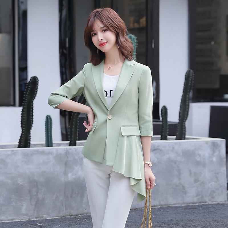 2020 New Women's Blazer Korean Style Spring And Summer Elegant Mid-length Ladies Jacket Feminine Casual Office Coat Small Suit