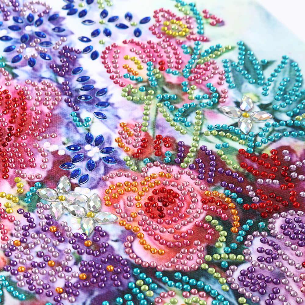 خاص على شكل الماس اللوحة 5D الماس التطريز عبر غرزة جميلة الزهور حجر الراين الصورة فسيفساء المنزل الديكور