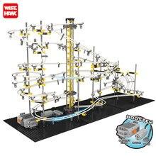 Neue Modell Gebäude Kit Lustige Teile Raum Schiene Achterbahn Spielzeug SpaceRail Ebene 1 2 3 4 DIY Spacewarp Erector set 5500mm Sport