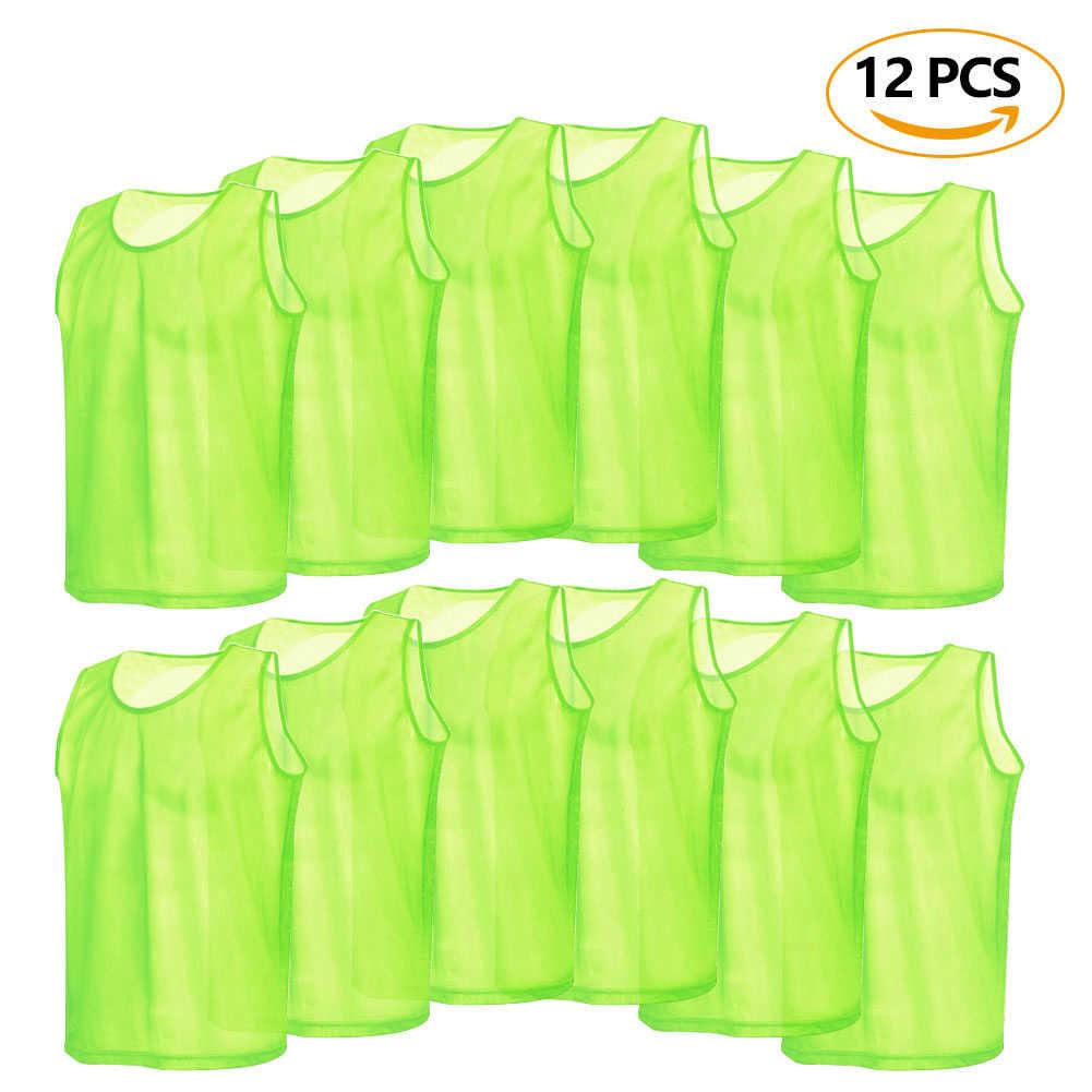 12 pçs adultos futebol pinnies secagem rápida camisa de futebol colete scrimmage prática esportes colete respirável treinamento da equipe babadores