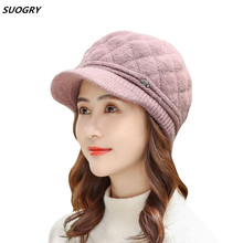 2018 Elegant Ladies Women Rabbit Fur Knitted Hats Newsboy Berets Solid Visor Autumn Winter Fashion Warm Flat Cap Gorras Feminino