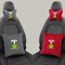 1 paar Auto Sitz Atmungsaktiv Neck Kissen + Lenden Kissen Für Tesla Modell 3 Modell S Modell X Zubehör Speicher schaum Reise Kissen