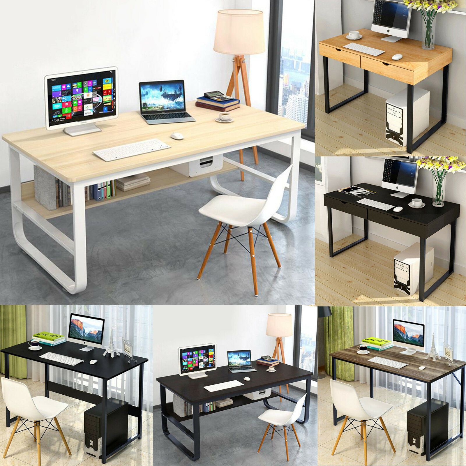 UK/US Home Computer Desk Table Workstation Office Laptop PC Desktop Study Shelf Office With 2 Drawers / Bookshelf  2 Color