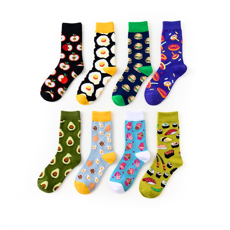 Avocado Omelette Burger Sushi Apple Fruit Food Seafood Short Socks Funny Cotton Socks Women Autumn Winter Happy Socks Female