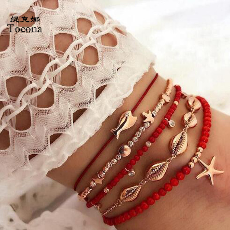 Tocona 5pcs/sets Sea Starfish Shell Anklets for Women Summer Fish Red Rope Barefoot Sandals Fish Bead Bohemian Jewelry 8801