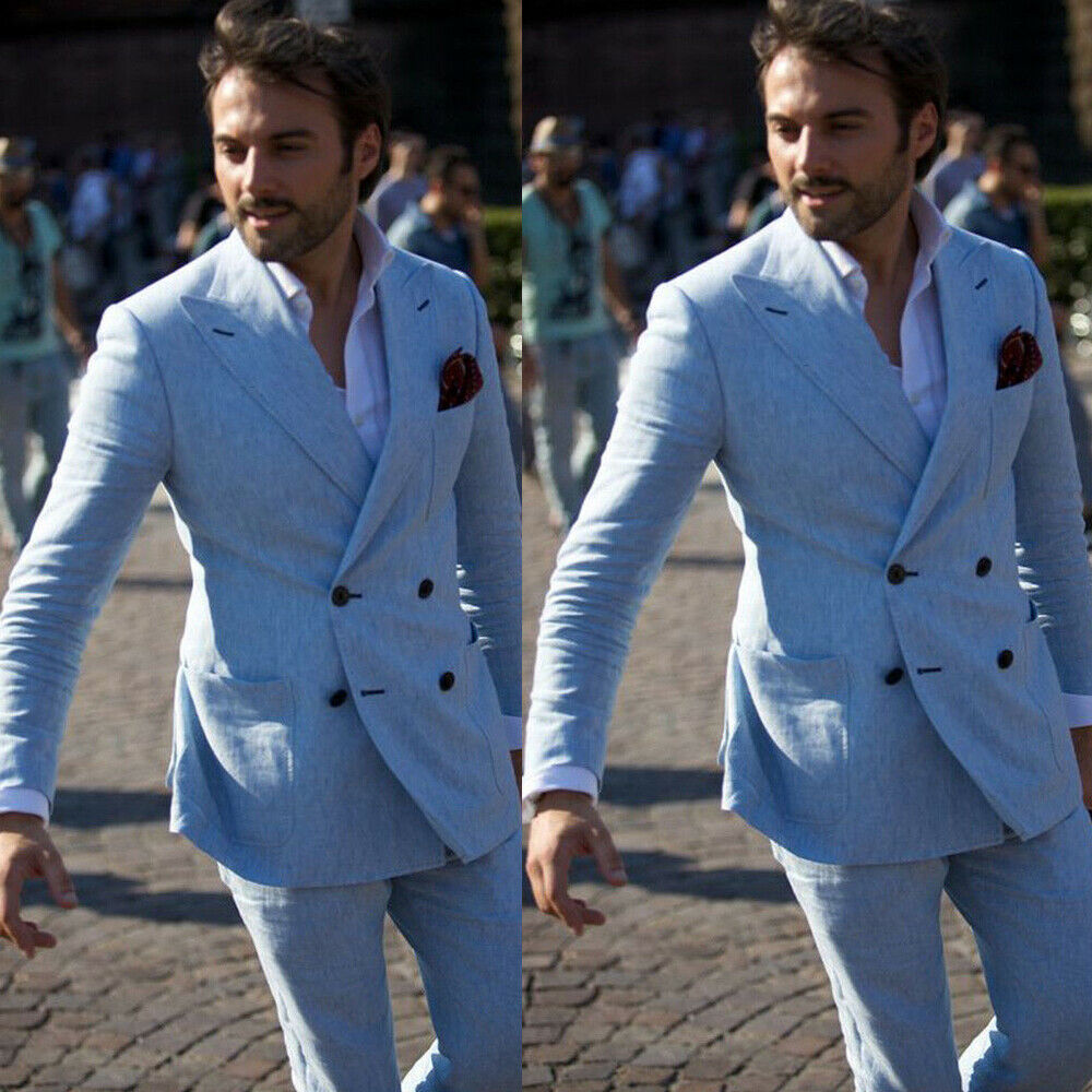 Normalizzazione account Occlusione  Light Blue 2 Pcs Mens Suits Double Breasted Groom Tuxedos Linen Wedding  Suit Blazer Slim Fit Beach Smoking Man Party Gowns 2020|Suits| - AliExpress