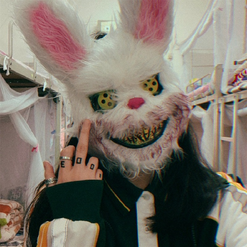 2019 New Halloween Masquerade Evil Bloody Rabbit Teddy Bear Cosplay Horror Mask For Kids Adults Easter Props Family Party Plush
