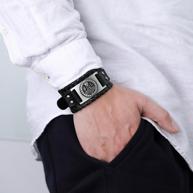 Мужской браслет из натуральной кожи Skyrim -