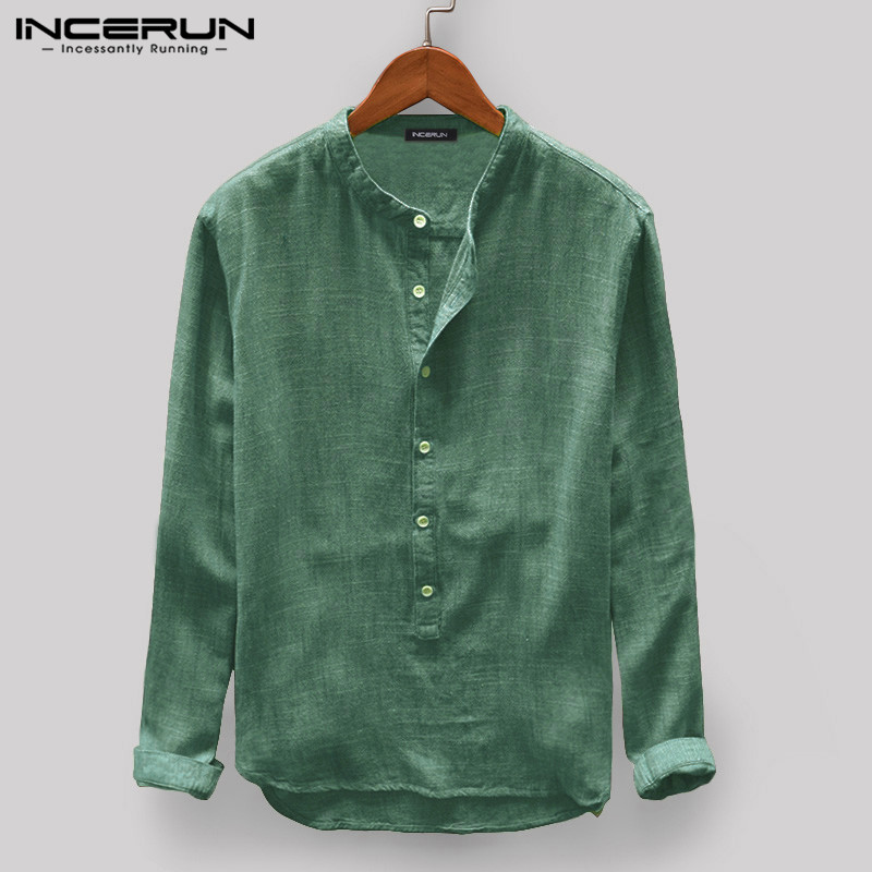 INCERUN Men Casual Shirt Stand Collar Long Sleeve Tops Pullover Leisure Button Japanese Men Basic Shirts Camisa Harajuku  2021