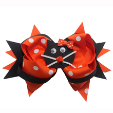 4 inch DIY craft Cartoon cat Bows dot Hair Bands bowknot Grosgrain Ponytail For Kids Girls Accessories gifts