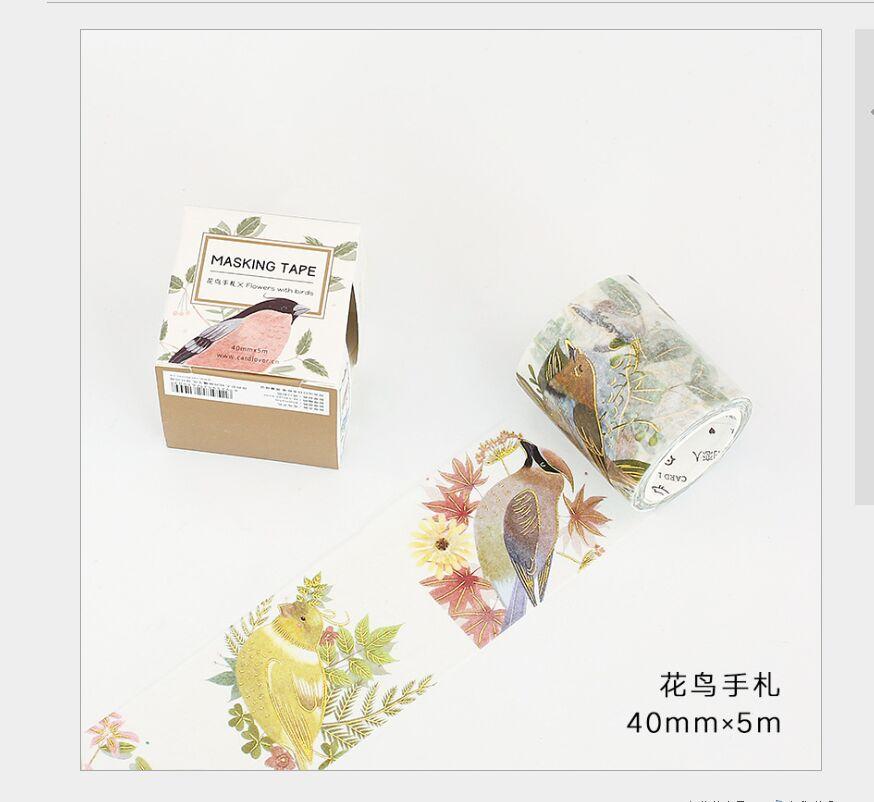 40mm Wide Gold Foil Flower Bird Tree Branch Washi Tape DIY Planner Diary Scrapbooking Masking Tape