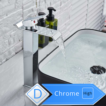Rozin Waterfall Bathroom Sink Faucet Deck Mount Hot Cold Water Basin Mixer Taps Polished Chrome Lavatory Sink Tap 7