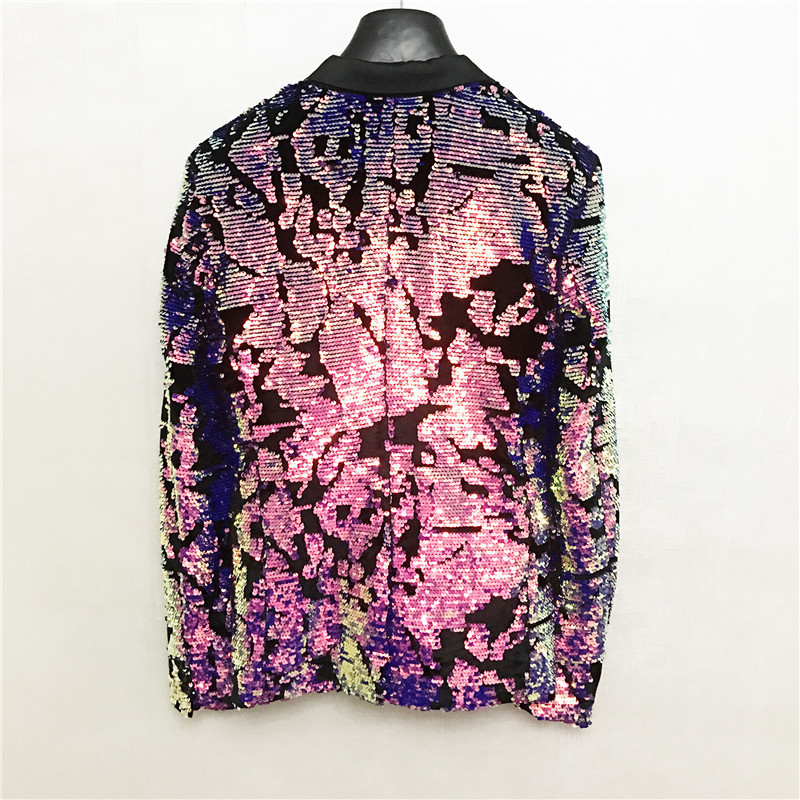 Luxury Sequined Slim Blazer Men Night Club Singer Stage Clothes Pink Single Breasted Jacket Fashion Party Blazer Masculino M-3XL