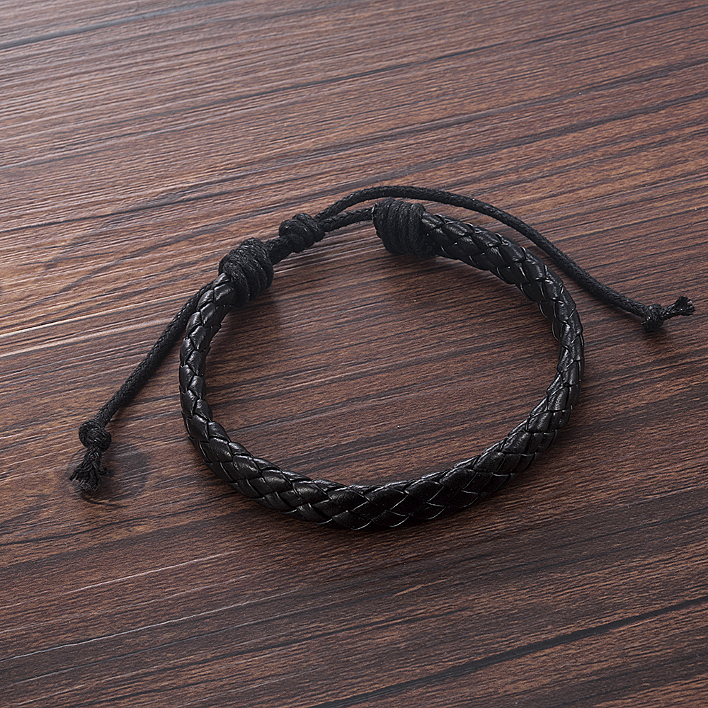 Fashion Men Black Weave Leather Simple Adjustable Bracelet Bangle Cuff Rope Bracelet Jewelry Gift For Boyfriend 1