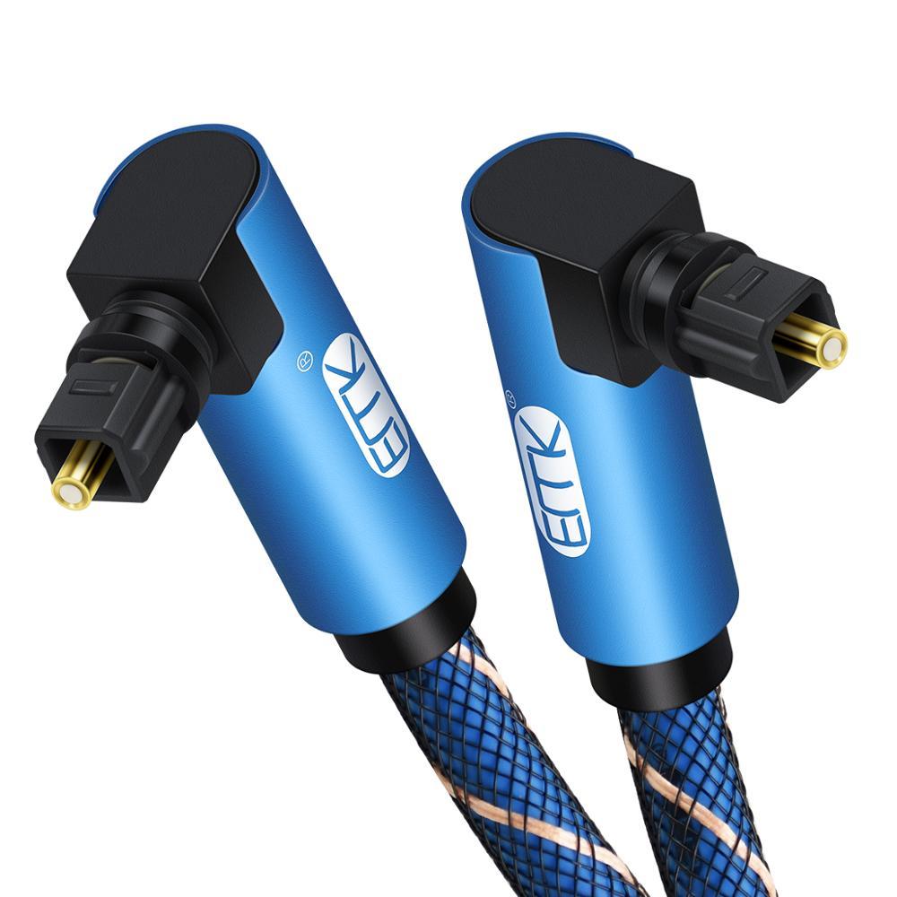 Emk dupla de 90 graus ângulo direito cabo de áudio óptico toslink cabo de fibra óptica de áudio digital trançado de náilon para soundbar tv