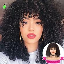 Siyo curto encaracolado bob peruca com franja remy perucas de cabelo humano brasileiro afro kinky encaracolado peruca para preto feminino jerry onda perucas completas