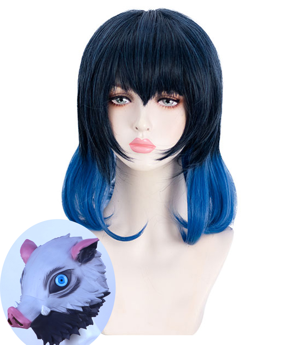 HSIU Hashibira Inosuke Wig Mask Cosplay Wig Anime Demon Slayer: Kimetsu No Yaiba Black And Blue Gradient Color Wig