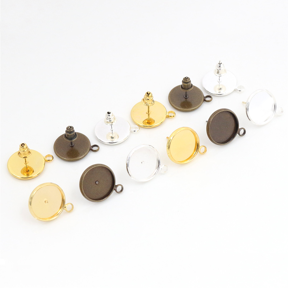 12mm 10pcs Two Style 3 Colors Plated Earring Studs,Earrings Blank/Base,Fit 12mm Glass Cabochons,Buttons;Earring Bezels